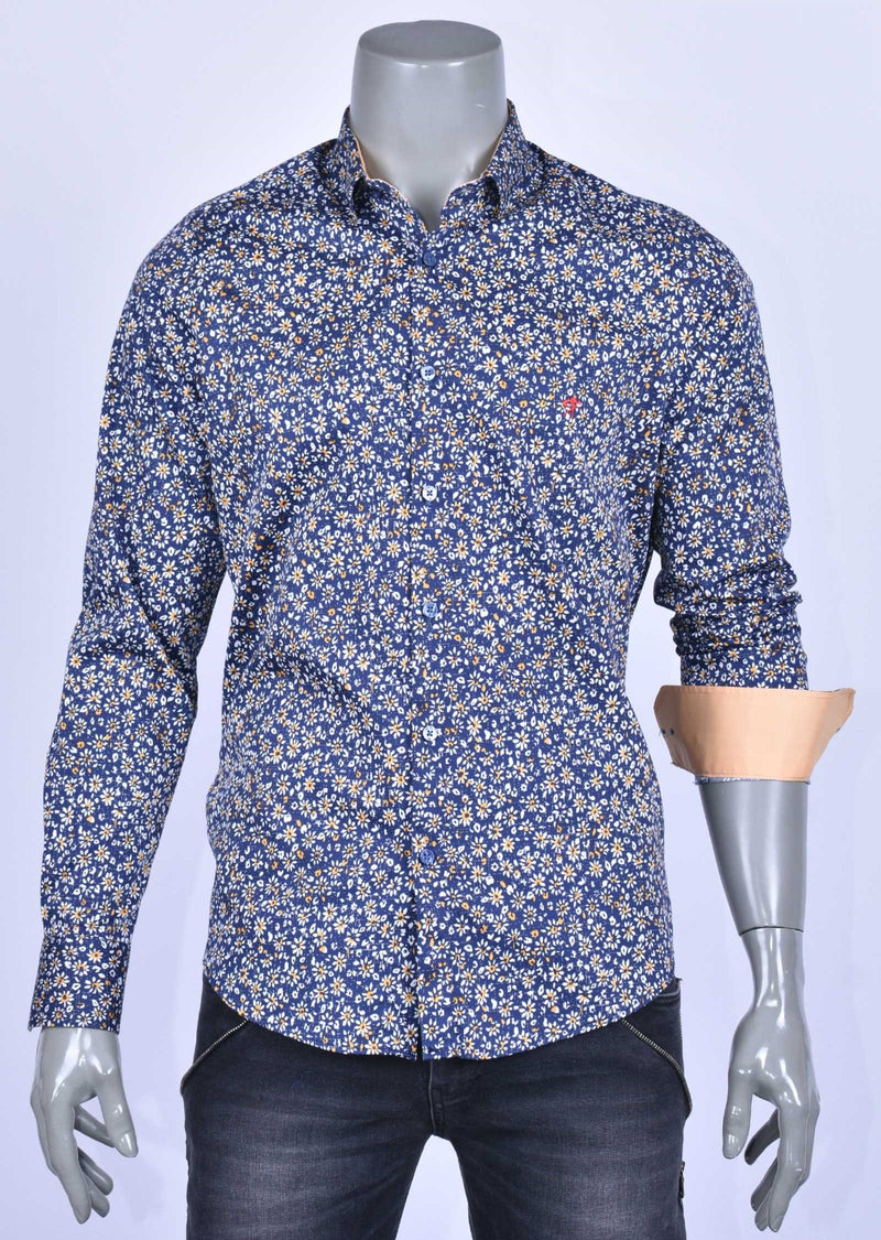 "Blue Yellow Floral ""Azzolino"" Shirt"