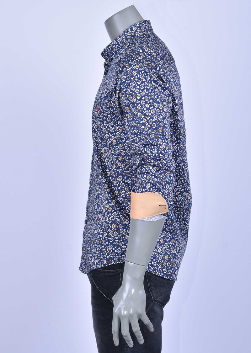 "Blue Yellow Floral ""Azzolino"" Long Sleeve Shirt"