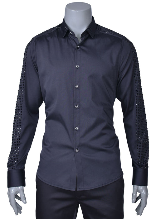 Black Rhinestone Long Sleeve Shirt