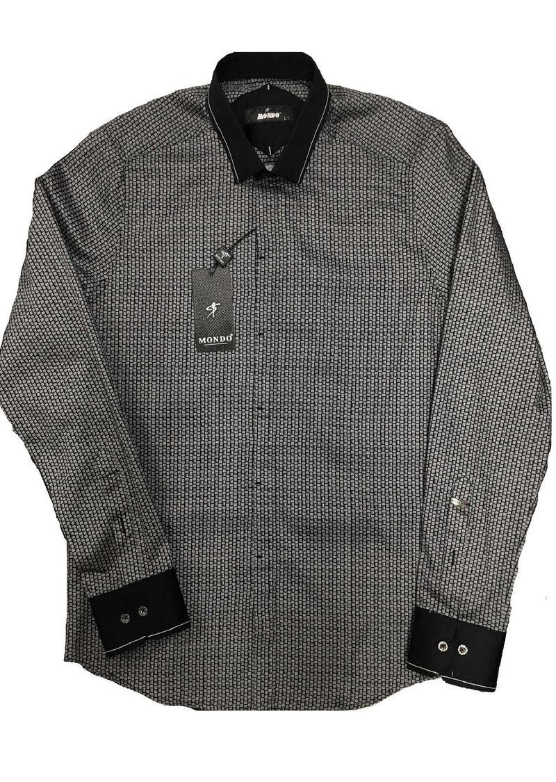 Gray Trace Print Long Sleeve Shirt