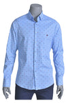 Blue Car Print Weaved Shirt