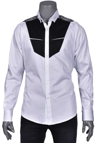 "White Black ""Shoulder in Rhinestone"" Luxury Long Sleeve Shirt"