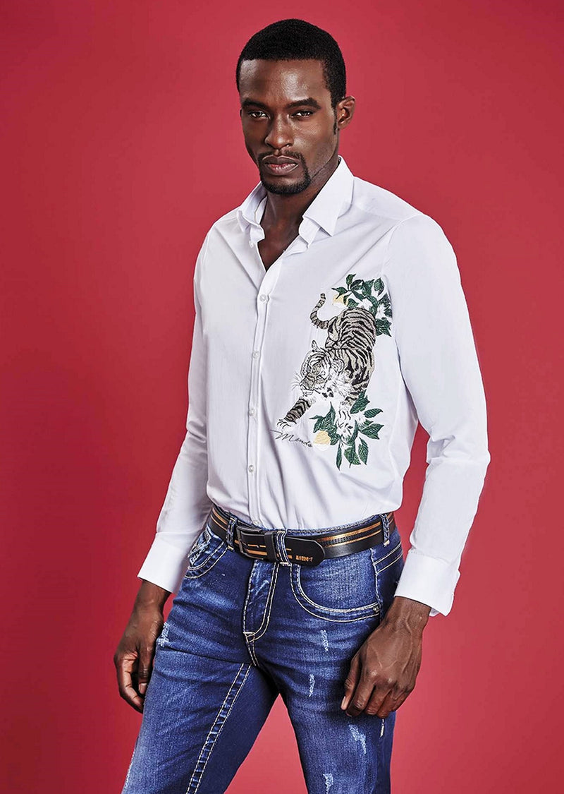 White Tiger Embroidery Long Sleeve Shirt