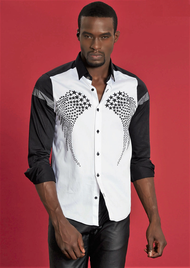 "Black White ""Star"" Print Long Sleeve Shirt"