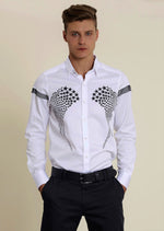"White ""Star"" Print Long Sleeve Shirt"