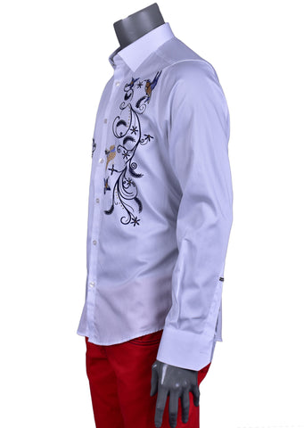 "White ""Floral"" Embroidery Long Sleeve Shirt"