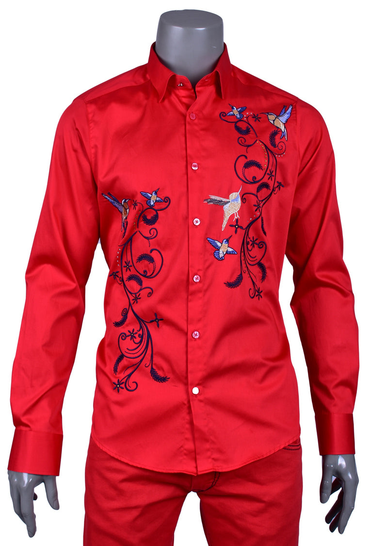 "Red ""Floral"" Embroidery Long Sleeve Shirt"