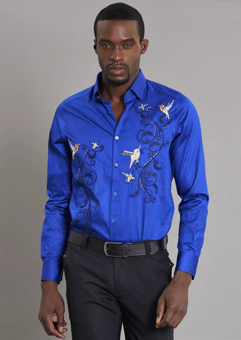 "Royal Blue ""Floral"" Embroidery Long Sleeve Shirt"