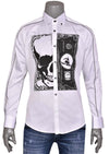 "White ""Skull & Dollar Bill"" Print Long Sleeve Shirt"