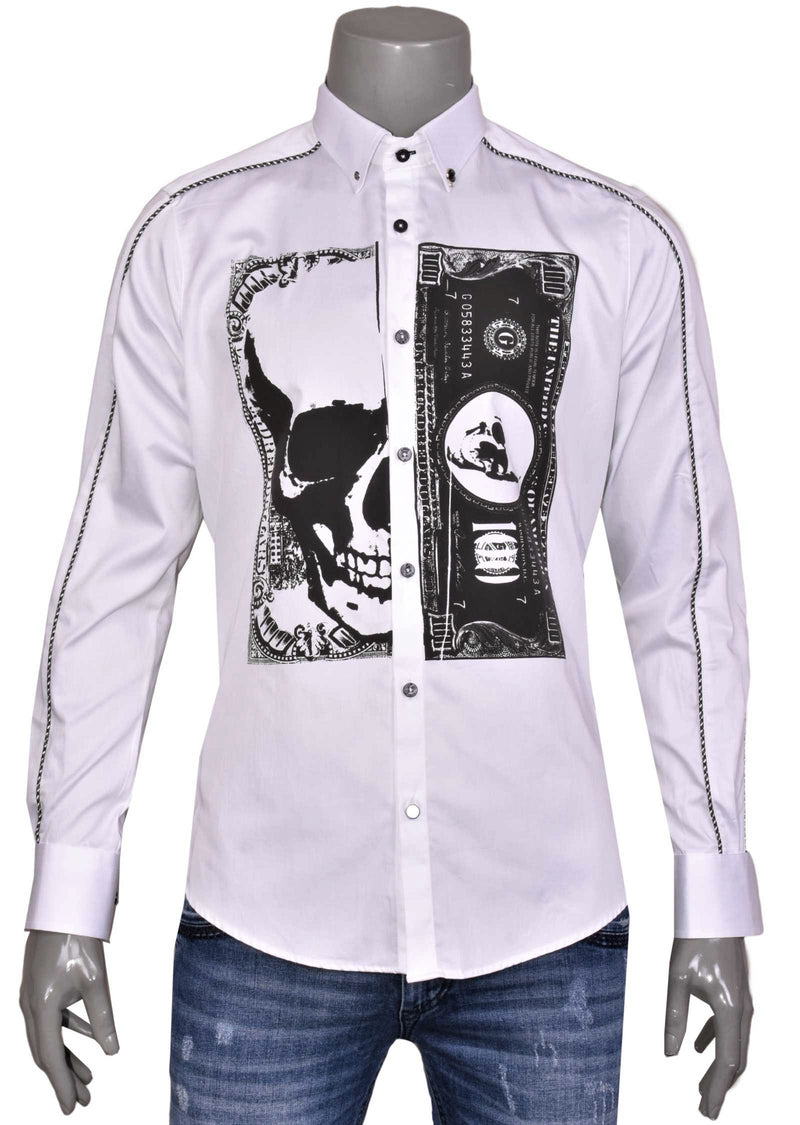 "White ""Skull & Dollar Bill"" Print Shirt"