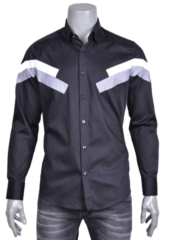 Black Two-Tone Panel Long Sleeve Shirt