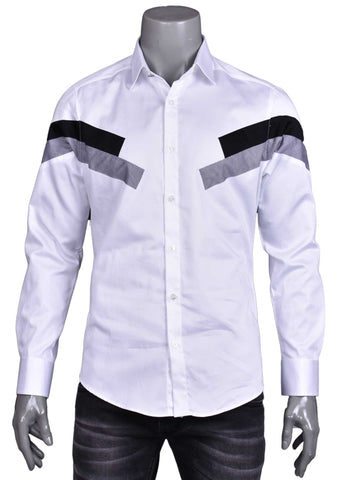 White Two-Tone Panel Long Sleeve Shirt