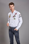 White Embroidery Patches Shirt