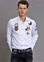 White Embroidery Patches Long Sleeve Shirt