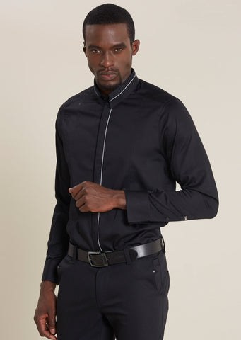 Black Pipe Trim Luxury Cotton Long Sleeve Shirt