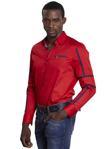 Red Navy Contrast Edge Long Sleeve Shirt