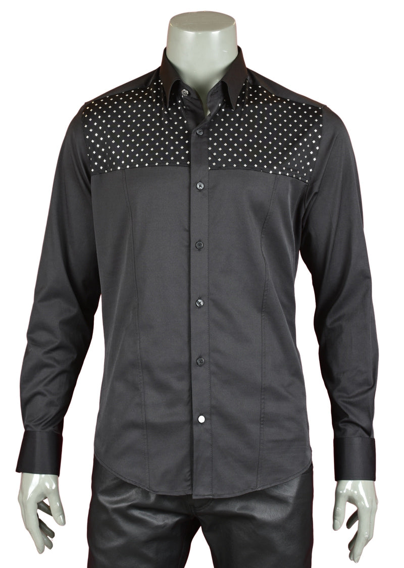 "Black ""Benito"" Studded Shirt"