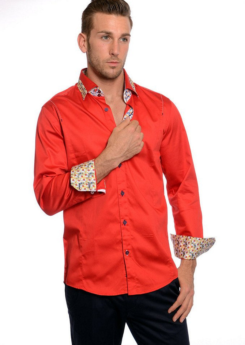 Red Floral Long Sleeve Shirt