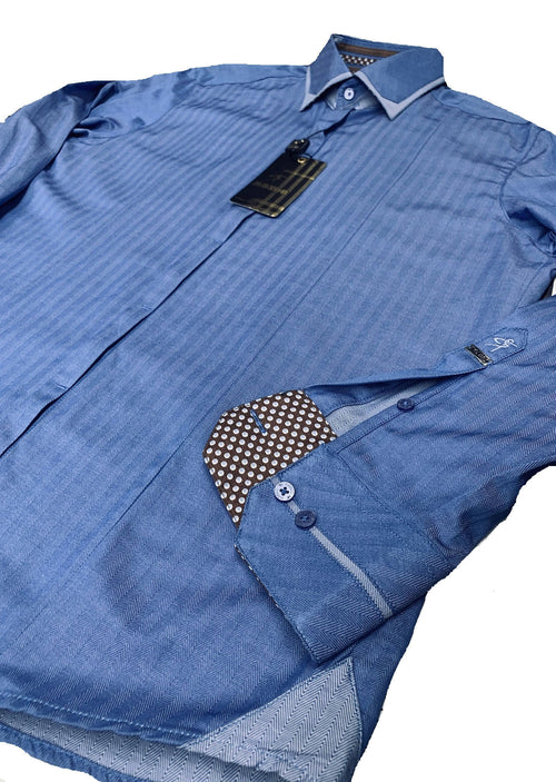 Blue Tonal Stripe Jacquard Shirt