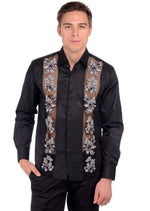 Black Floral Sheer Embroidery Shirt