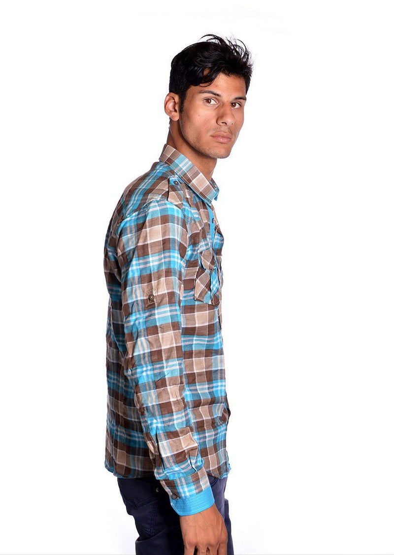 Blue Brown Plaid Long Sleeve Shirt