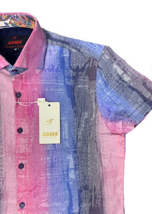 Pink Ombre Print Short Sleeve Shirt