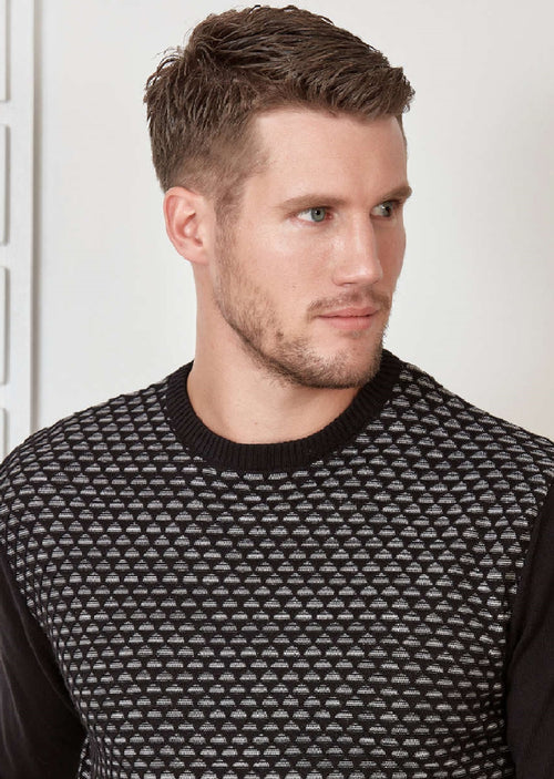 Black 2-tone Textured Sweater