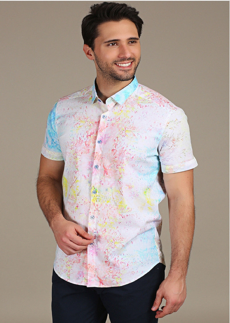 Multi-Color Splash Short Sleeve Shirt