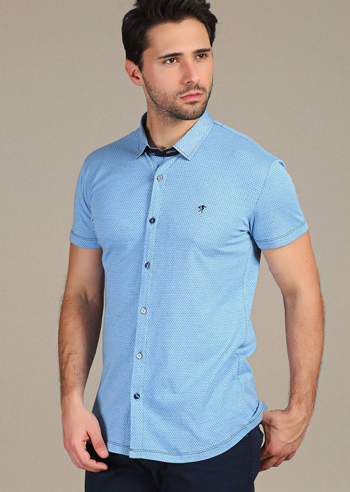 Blue Polkadot Knit Short Sleeve Shirt