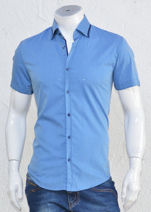 Blue Dotted Print Short Sleeve Shirt
