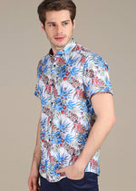 Blue Red Floral Print Short Sleeve Shirt
