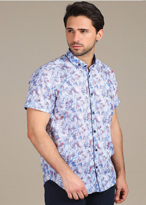 Blue Faded Paisley Print Short Sleeve Shirt