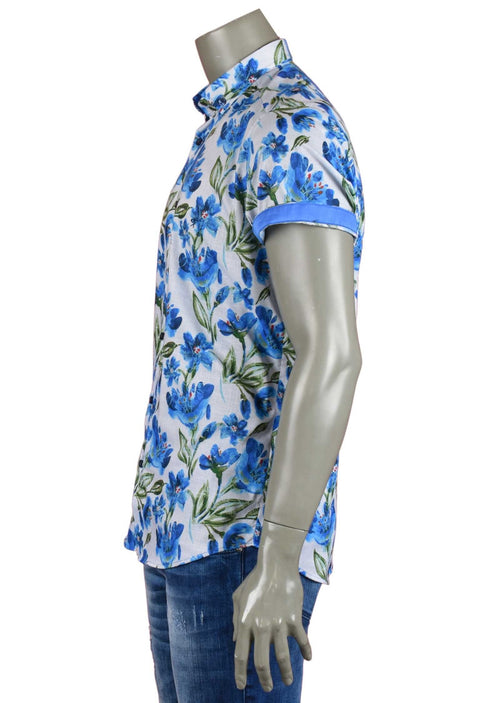 Blue Floral Print Short Sleeve Shirt