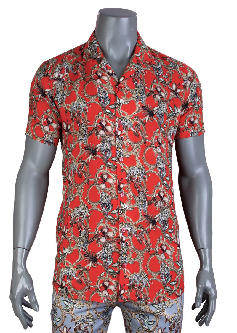 Orange Red Leopard Short Sleeve Shirt