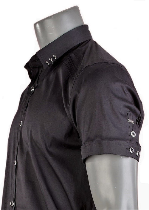 "Black ""Metal Ring"" Short Sleeve Shirt"