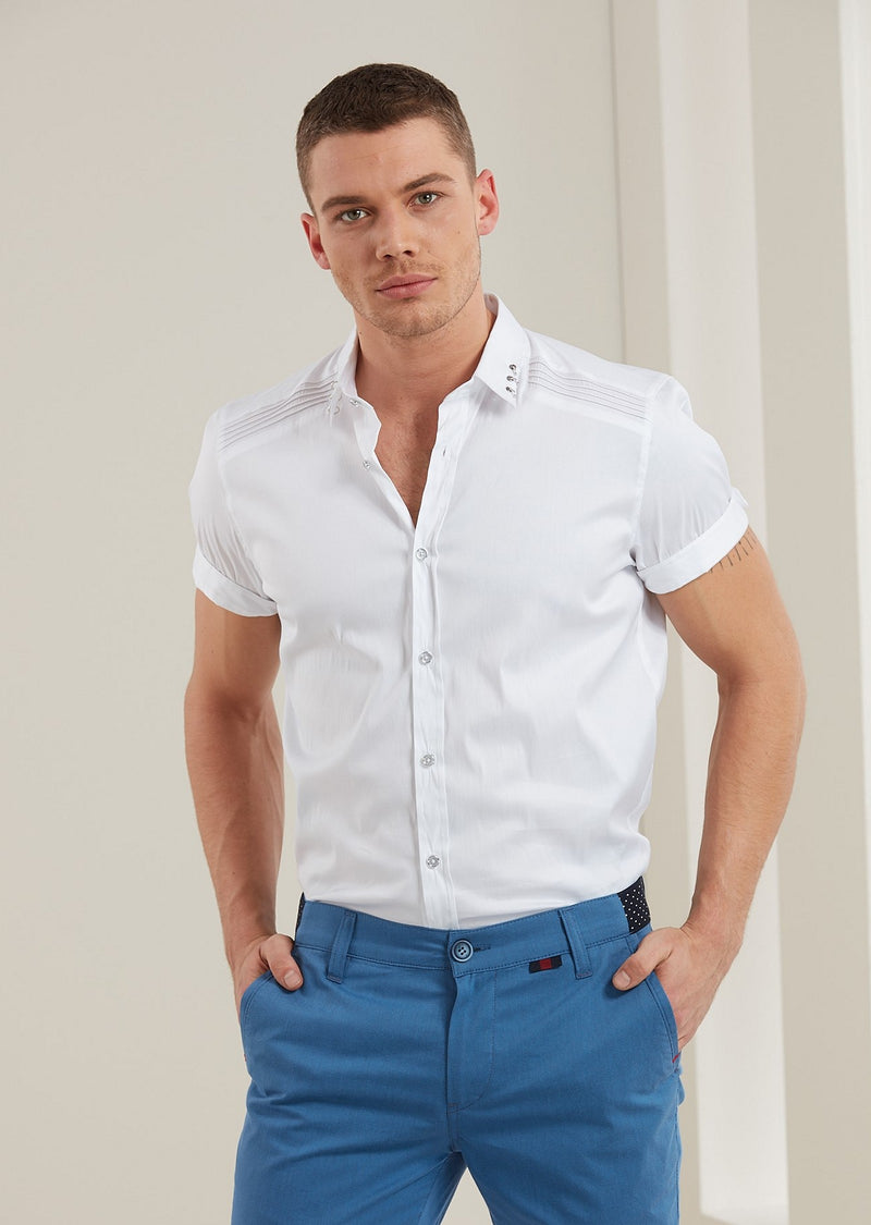 "White ""Metal Ring"" Short Sleeve Shirt"
