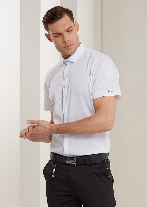 White Luxury Buckle Short Sleeve Shirt