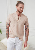 Beige Half-Placket Short Sleeve Shirt