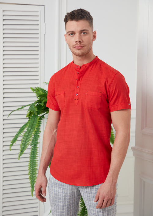 Red Half-Placket Short Sleeve Shirt