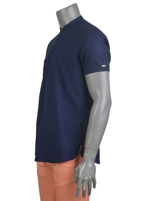 Navy Half-Placket Short Sleeve Shirt