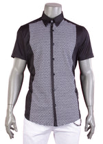 Black Dual Fabric Short Sleeve Shirt