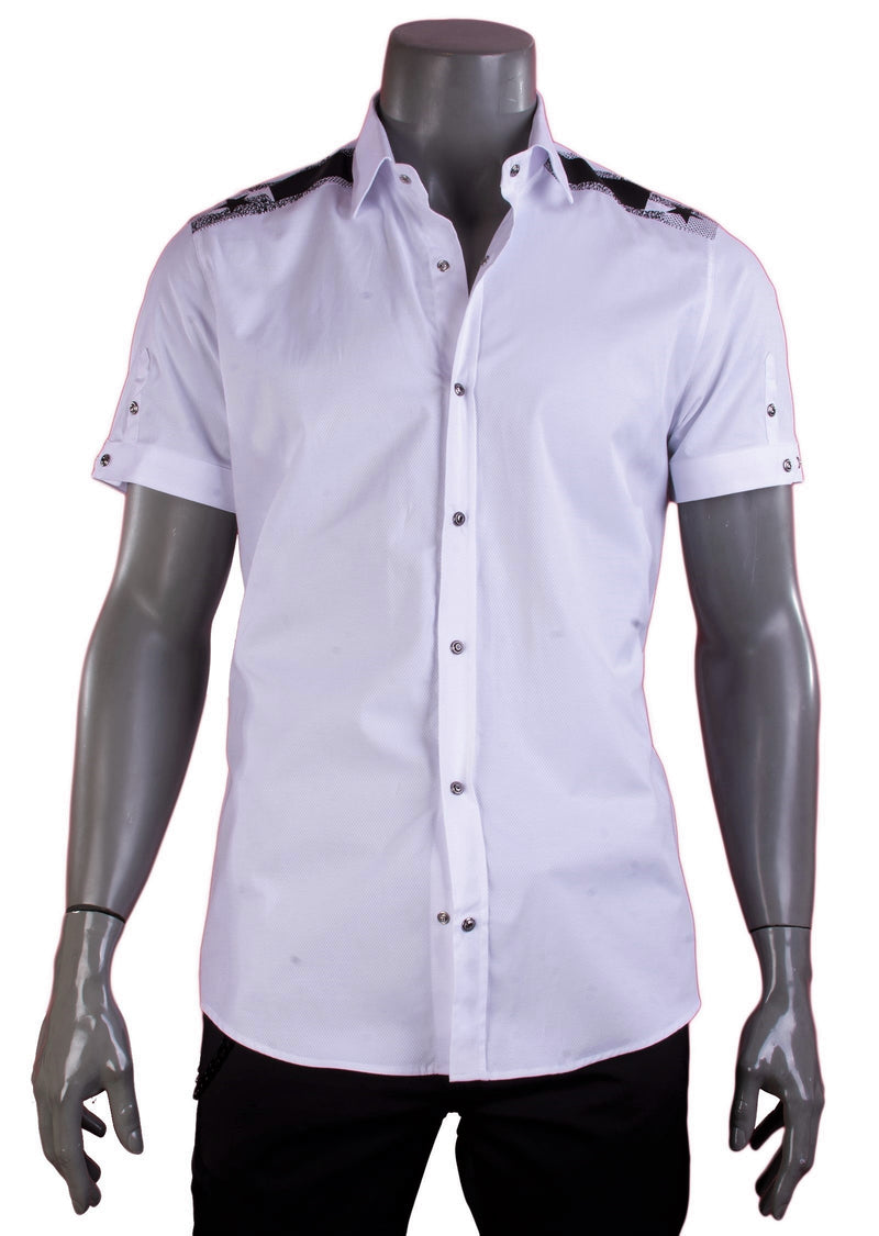 White Star Jacquard Short Sleeve Shirt