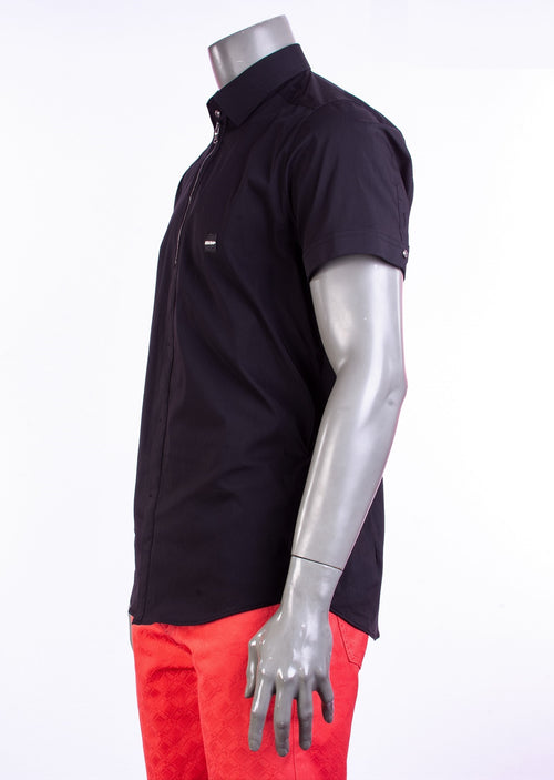 Black Zipper Placket Short Sleeve Shirt