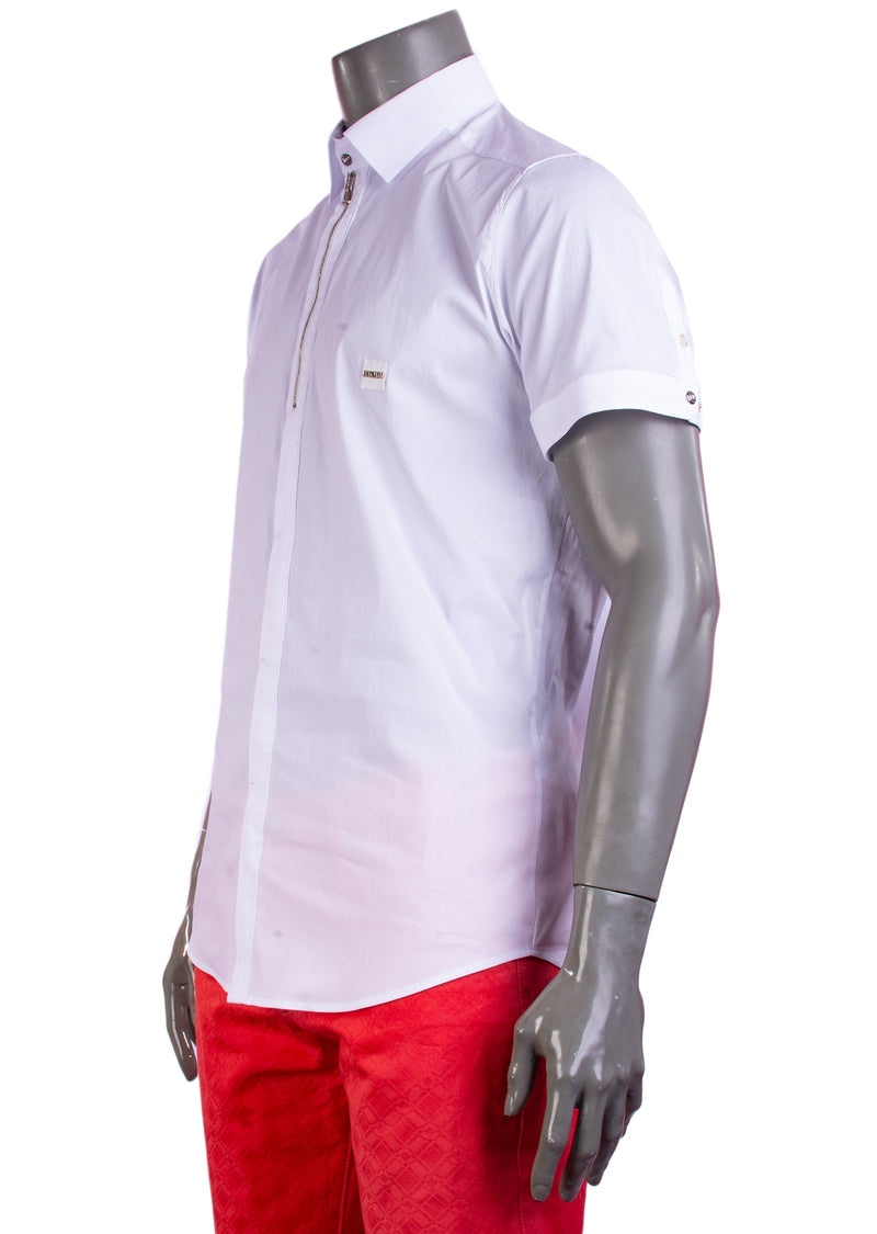 White Zipper Placket Short Sleeve Shirt