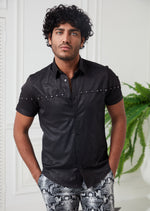 Black Snake Print Studded Shirt