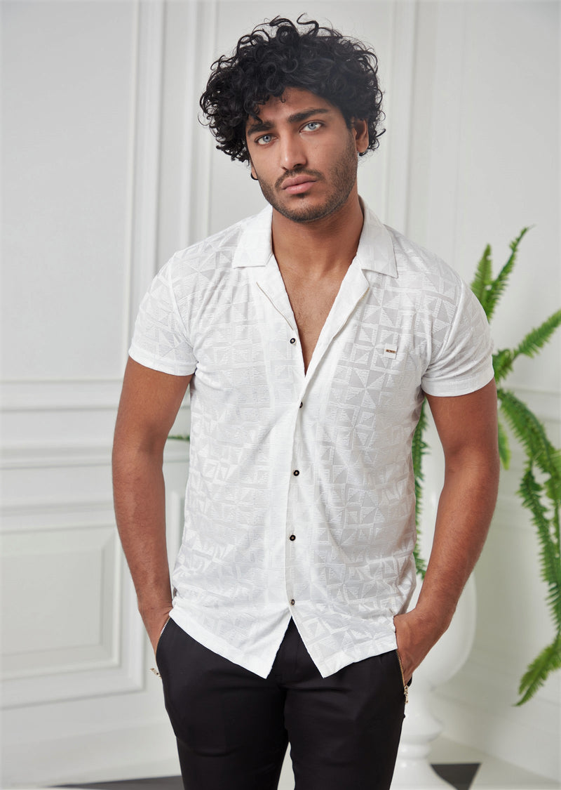 White Triangle Jacquard Shirt