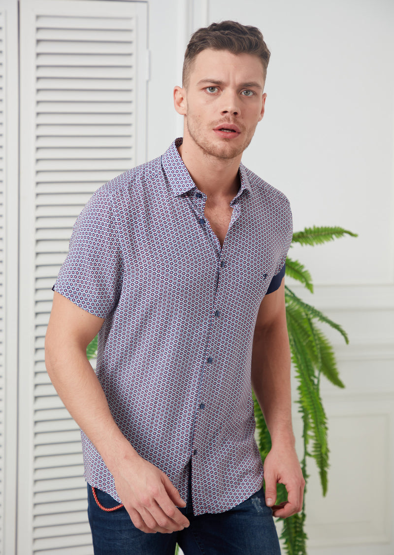 Burgundy Floral Bamboo Short Sleeve Shirt