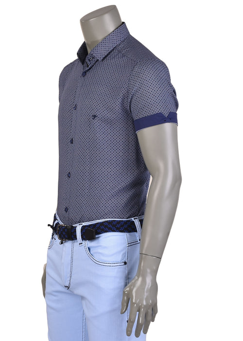 Blue Bold Geo Bamboo Short Sleeve Shirt