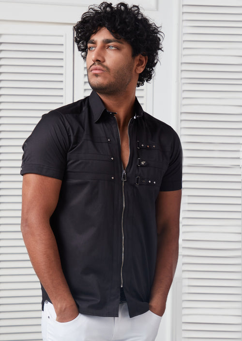 Black Zipper Studded Short Sleeve Shirt