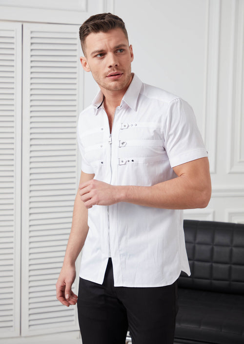 White Zipper Studded Short Sleeve Shirt